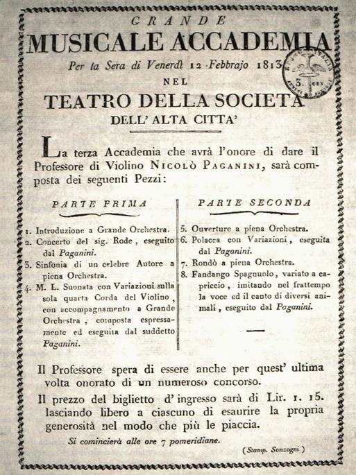 12 Febbraio 1813, Paganini in concerto a Bergamo